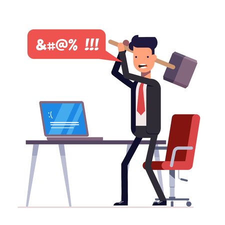 Broken computer with a blue screen of death. Computer virus. An angry businessman or manager with a sledgehammer in his hand expresses swearing. Flat illustration isolated on white background. Stock Illustratie