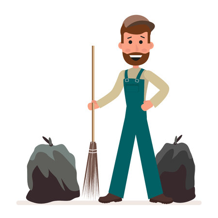 Janitor with a broom and garbage bags isolated on a white background in a flat style. Cartoon character.