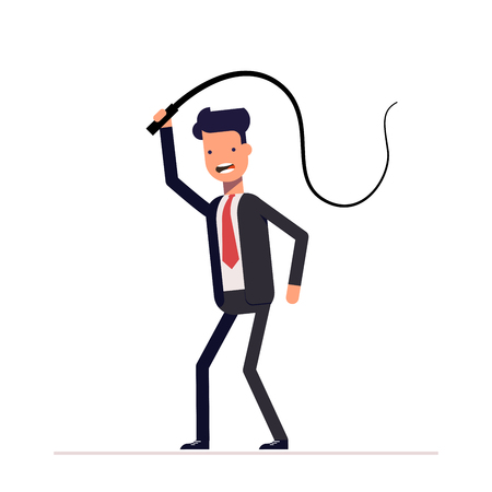 Evil boss or businessman with a whip in his hands. Domination, demonstration of power and power. The slaveholder. Oppression of the weak. Illustration