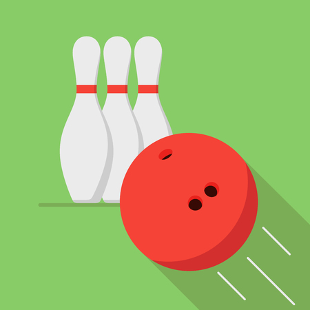 The bowling ball is moving toward the pin. Play of bowling. Icon or banner for the game club. Illustration