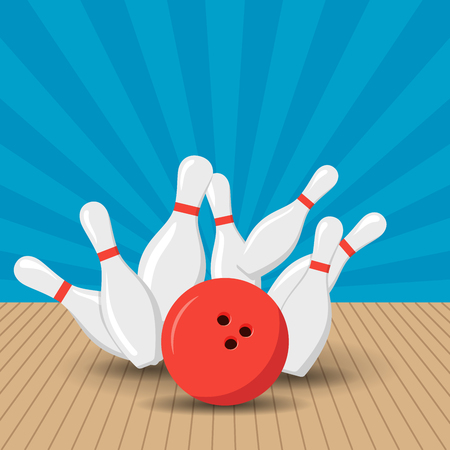 Poster games in the bowling club. Vector background design with strike at alley ball skittles.