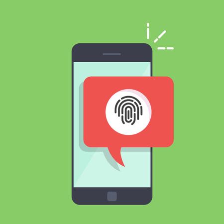 지문을 스캔하라는 제안과 함께 전화 대화 상자. 모바일 응용 프로그램에서 승인하는 빠른 방법. 일러스트