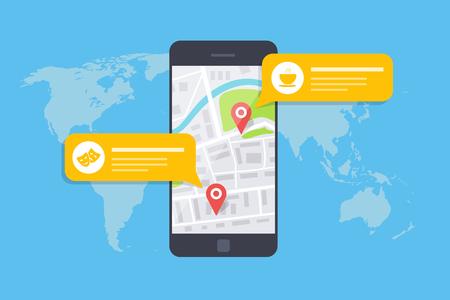 Konzept einer mobilen Karte oder eines Navigators. Popup-Dialogfeld mit Objektbeschreibung auf der Karte. Vektorgrafik