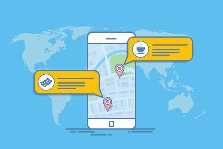 Konzept einer mobilen Karte oder eines Navigators. Popup-Dialogfeld mit Objektbeschreibung auf der Karte. Dünne Linie Vektor-Illustration.