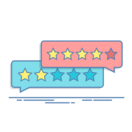 Concept of customer feedback. Rating in the form of stars. Negative or positive rating. Dialog box for the interface in the mobile application or on the site. Thin line vector illustration.