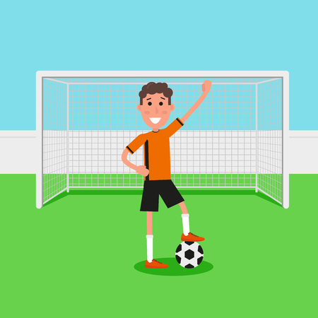 Soccer goalkeeper keeping goal on arena, Athlete with a soccer ball. Flat character in cartoon style. Vector illustration Illustration