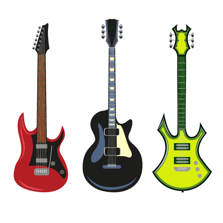 Collection of heavy metal electric bass or acoustic guitars isolated on white background