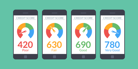 Colección de teléfonos inteligentes con puntuación de crédito aplicación en la pantalla en estilo plano. Ilustración de vector
