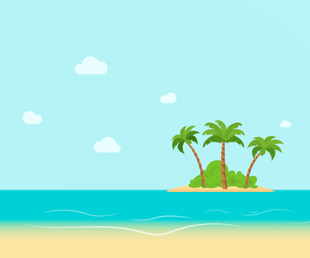 Tropical coast, beach with hang palm trees. View of the Sea, the island green and the sky with large clouds. Flat vector illustration. Illustration