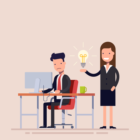 Employee helps with the idea of a colleague being in despair. Help in a difficult situation. Workflow in the office. Businesswoman and businessman in business suits.