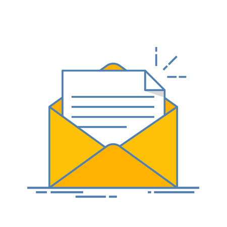contact info: Open envelope with a document. New letter. Sending correspondence. Flat line illustration isolated on white background.