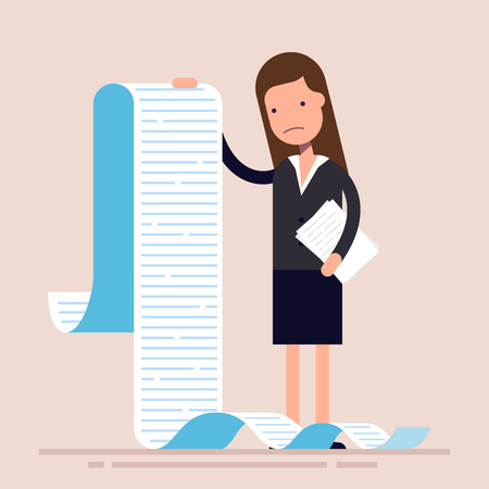 Businesswoman or manager, hold a long list or scroll of tasks. or questionnaire. Woman in a business suit. Flat character. Vector illustration Stock Illustratie