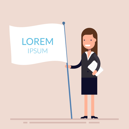 fiasco: Manager or businesswoman holding a white flag in his hand. Flat character isolated on background. Lorem ipsum. Vector illustration.