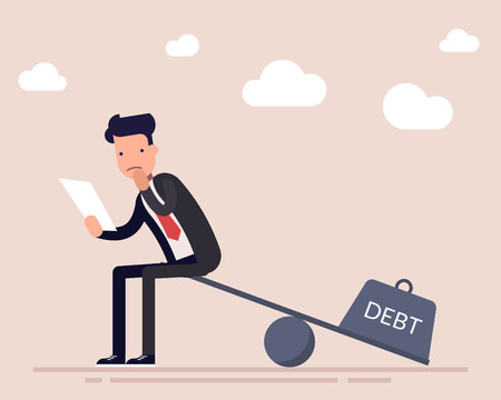 Businessman or a manager with a loan agreement sits on the scales. The severity of a financial debt. Heavy burden. Flat character isolated on background. Vector illustration. Illustration