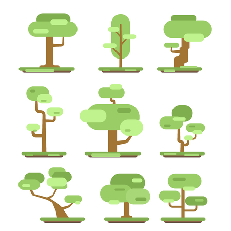 Set of different trees. Sprites for the game. vector flat forests illustrations isolated on white background. Illustration