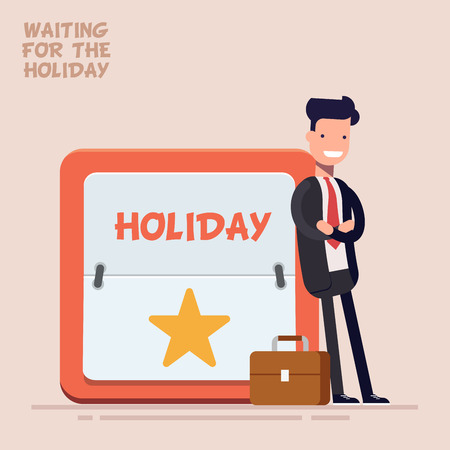 Businessman or manager in a business suit and suitcase stands near a large calendar with a weekend or a holiday. Flat character in flat style isolated on color background.