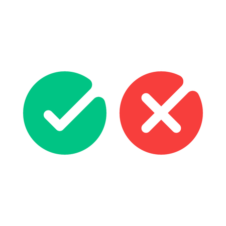 Check mark icons. Green tick and red cross checkmarks flat icons set. Vector illustration isolated on white background