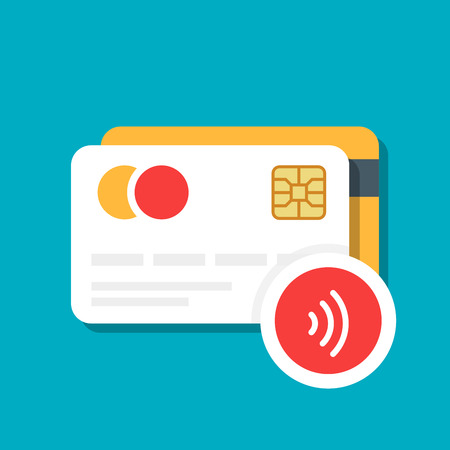 Plastic bank or credit card with a wireless payment icon. E-commerce. Vector illustration isolated on color background Illustration