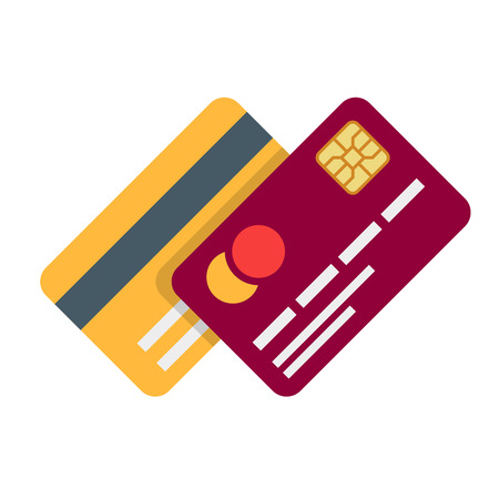 Cartão bancário ou débito de plástico com sombra isolado no fundo branco. Ilustração do vetor em um estilo plano. Ilustración de vector