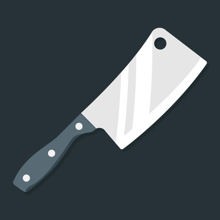 hatchet: Butcher knife. Kitchen knife and meat knife vector illustration in flat style on a gray background. Top view. Premium quality image. Illustration