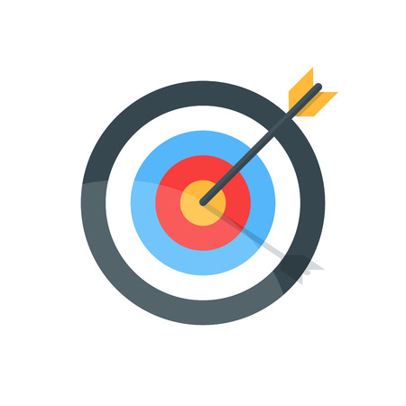 bull's eye: Target with arrow. Goal achieve concept. Premium quality vector illustration in flat style isolated on white background. Illustration