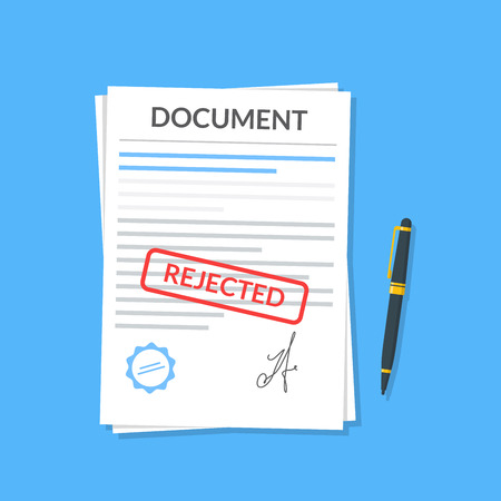 denial: Rejected document with stamp and pen. Modern flat design graphic elements. Rejected application concepts. Vector illustration in flat style isolated on color background. Top view.