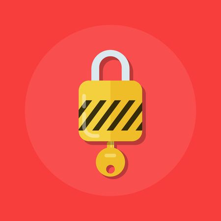 logon: Identity or logon icon. Padlock with a key in a flat style. The process of opening the lock. Premium quality vector illustration in flat style isolated on white background.