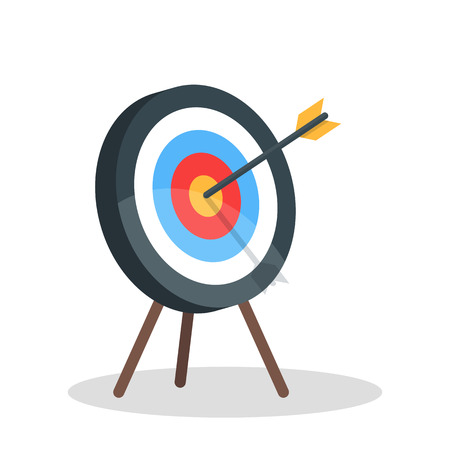 Vector image of the arrow is exactly on the target Vector illustration isolated on white background.