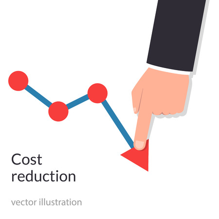 Businessman with his hand lowers the arrow of the graph.