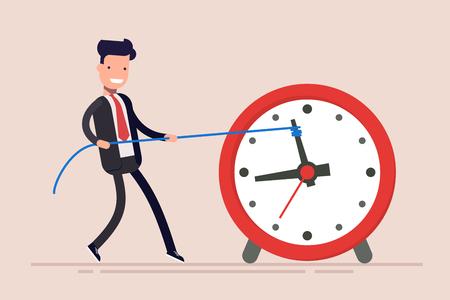 El hombre de negocios o gerente está perdiendo el tiempo. El hombre está tratando de recuperar el tiempo. El empresario no cumplió la tarea a tiempo