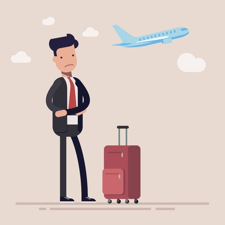 Businessman or manager missed a plane. Man was very upset about being late for the plane. Vector illustration in cartoon style.