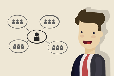 Businessman or manager reflects on business processes. Scheme of interaction between people close up. Cartoon vector illustration.