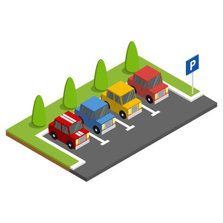 緑の木の隣に駐車車付きの駐車場。等角ベクトル図。