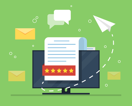 E-mail marketing. The concept of an open e-mail with a nested document against the backdrop of a computer monitor and a paper airplane. Flat vector illustration.