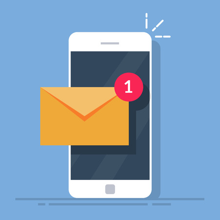 Notification of a new email on your mobile phone or smartphone. Mail icon. Flat vector illustration isolated on white background. Çizim