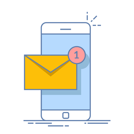 Notification of a new email on your mobile phone or smartphone. Mail icon. Thin line vector flat illustration isolated on white background. Ilustração