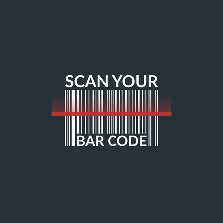 Concept scan bar code of the product, illustration isolated on a dark background.