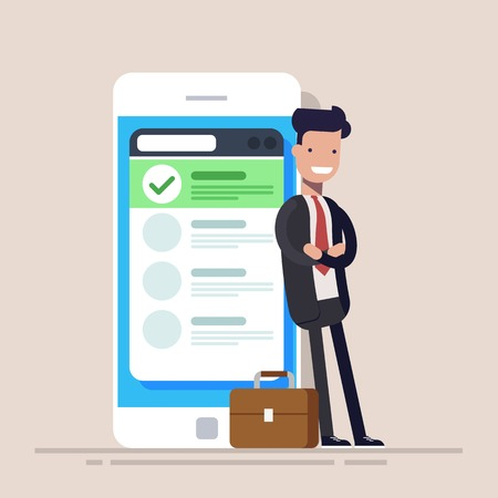 Happy businessman or manager is standing near a mobile phone with a list on the screen. Flat vector illustration. Çizim