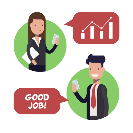 Interaction between two employees of businessmen or managers. The boss praises the subordinate. Working conditions. Flat vector illustration.