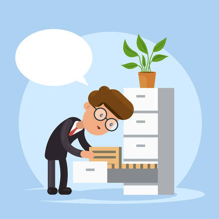 Businessman Searching Document in Pile of Folders. Office Bureaucracy. Vector cartoon illustration