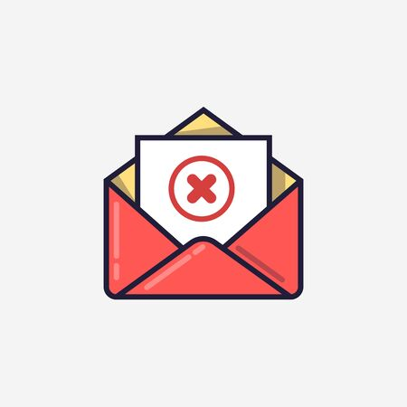 Opened envelope and document with red x mark line icon. Message was not sent, error, e-mail delivery failed, remove email, delete mail letter. Line design. Vector illustration  イラスト・ベクター素材