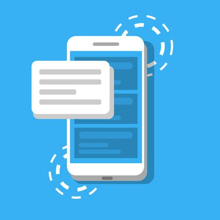 Message or SMS on the background of phone. Concept of chatting or correspondence using smartphone. Vector Illustration in modern flat style.