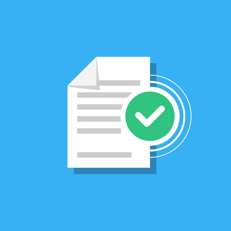 Check mark and document isolated on background. Confirmed document, declaration, summary, report. Checkmark. Vector Illustration in modern flat style. Vettoriali