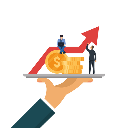 Money or coins on tray. Concept of financial growth in form of graph. Little people work on increasing the capital flat vector illustration isolated.