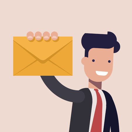 Delivery of the letter. Happy businessman or manager holding closed letter in his hand. Man in business suit. Vector illustration of cartoon style close-up. Vectores
