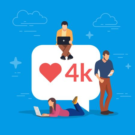 Social media bubble with red heart symbol. Young people using mobile gadgets for networking and collecting likes and comments. Laptop, tablet pc and smartphone. Flat vector illustration. Illustration