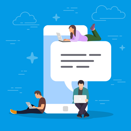 Chat talk concept illustration. Young people using mobile smartphone for sending messages to each other. Flat design of guy and woman standing near big smartphone with speech bubbles in chat.
