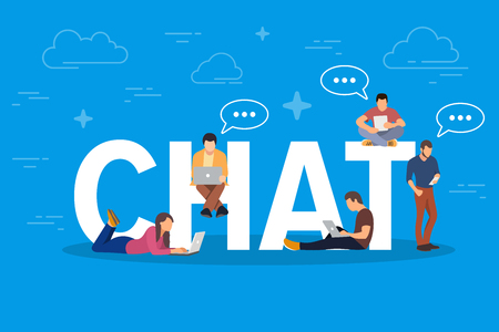 Chat concept illustration. Young people using mobile gadgets such as tablet pc and smartphone for texting messages each other via internet. Flat big letters chat and guys and women standing near