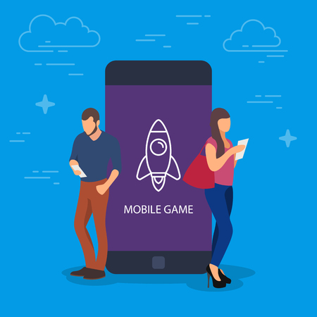 Mobile game concept vector illustration. People using devices for game. Flat concept of young men and women using smartphone or mobile phone Vectores