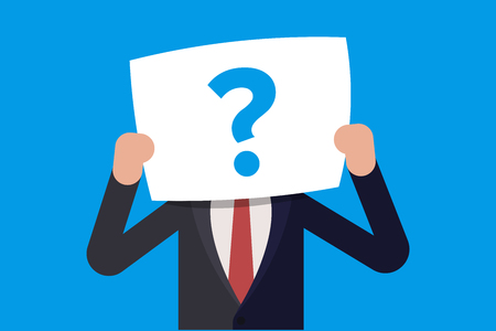 Young businessman or manager hiding behind a question mark drawn on paper. Flat vector illustration in cartoon style Illustration